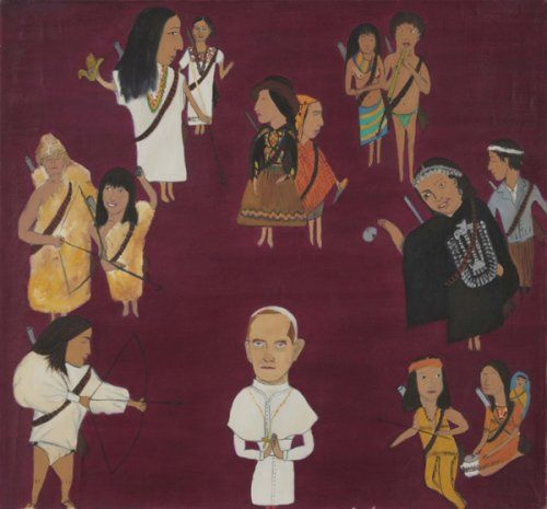 Cecilia Vicuña Sueño 1971   Oil on canvas  23.5 x 25.25 inches