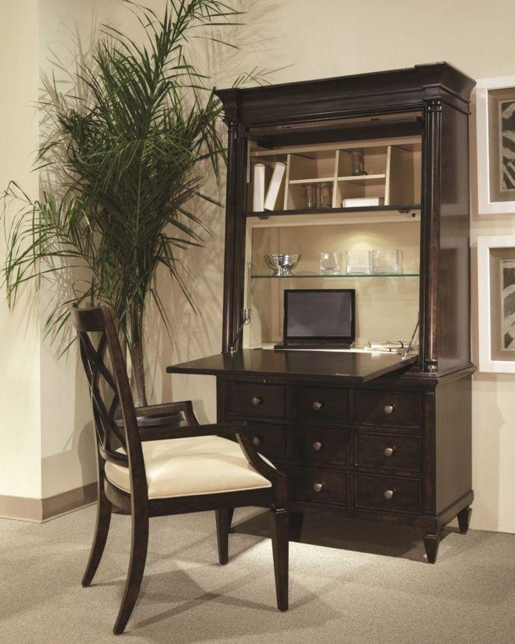 Furniture. Espresso Secretary Desk With Hutch And Glass Shelf Also 9 Drawers. Antique Secretary Desk With Hutch Designs