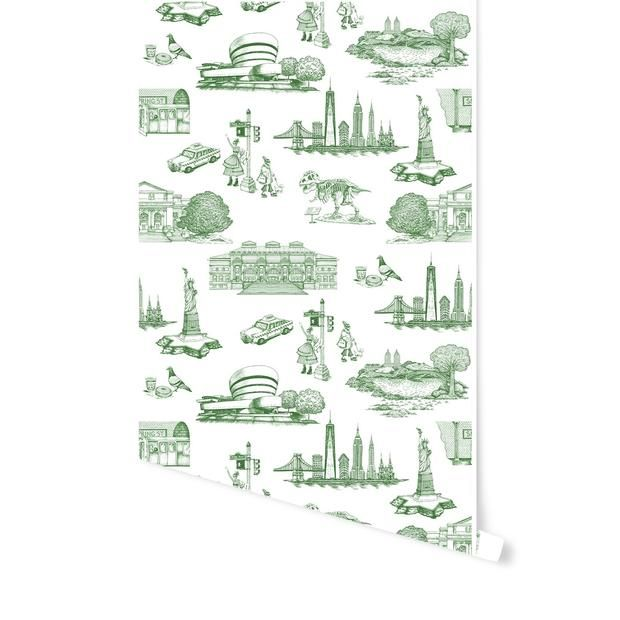 New York Toile Wallpaper Peel And Stick Wallpaper Katie Kime Wallpaper Toile Wallpaper