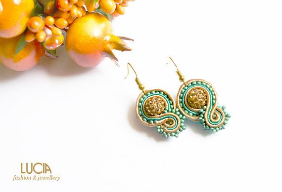Small elegant soutache earrings with shamballa beads Beige