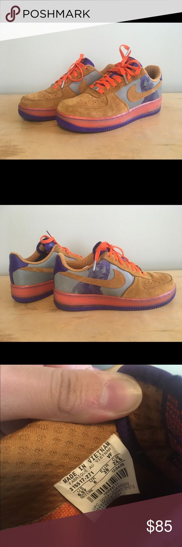 Amare Stoudemire Nike Air Force 1 Size 6.5 Y These are a men's size 6.5. Fit like a women's size 8. Good for wide feet. Rare, limited edition shoe. Look like they've been worn only a handful of times. Good condition. Nike Shoes Sneakers