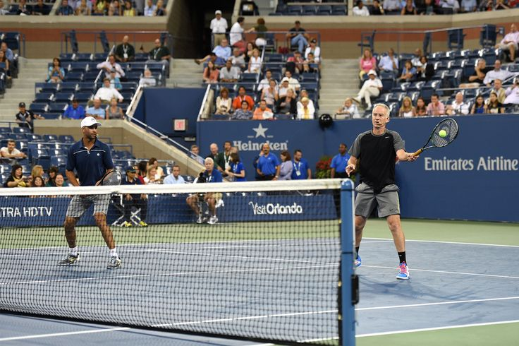 9/3/14 John McEnroe during the Exhibition Doubles match with James Blake, Jim Courier and Mats Wilander in Arthur Ashe Stadium.