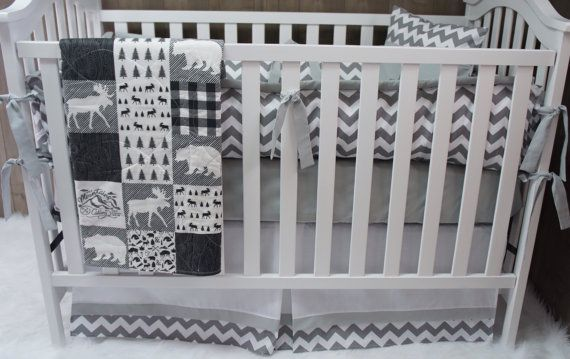 Baby Boy  Nursery Bedding  Crib Set  Woodland  Moose  by Babylooms
