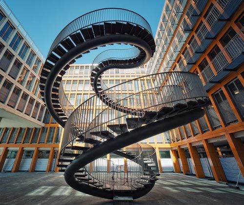 Endless: Olafureliasson, Olafur Eliasson, Sculpture, Stairs, Spirals Stairca, Stairca Design, Offices Building, Munich Germany, Stairways