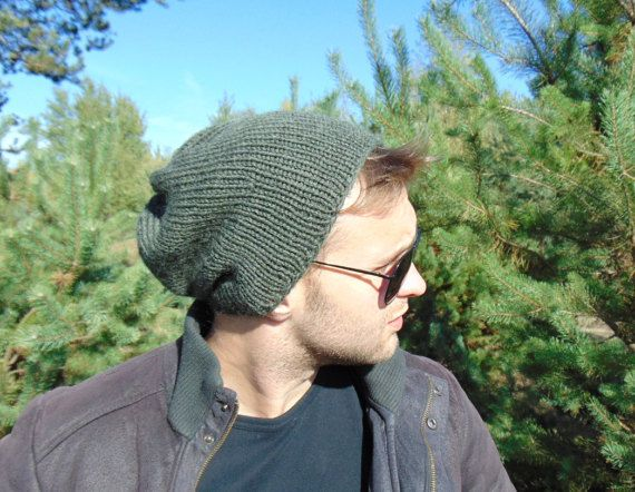 Mens Knitted Hat Dark Green Winter Cap Wool Hat by MaddaKnits