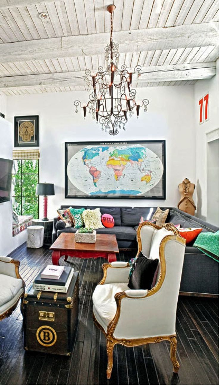 Exactly my style dark floors light neutral walls and Eclectic home decor
