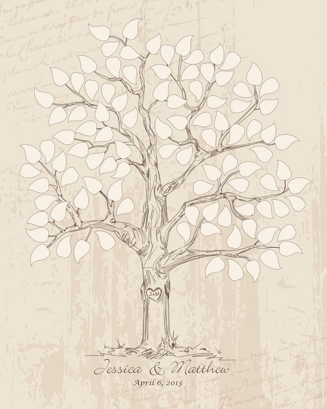 16x20 Hand drawn Wedding Guest book Signature Tree, Guest book alternative, Hand drawn sketched wedding tree, pastels earth tones, for 100. $40.00, via Etsy.