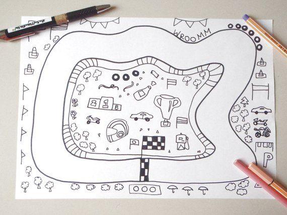 Racetrack Coloring Car Motorbike Bike Pilot Race Colouring Etsy Kids Races Kids Race Track Cars Coloring Pages