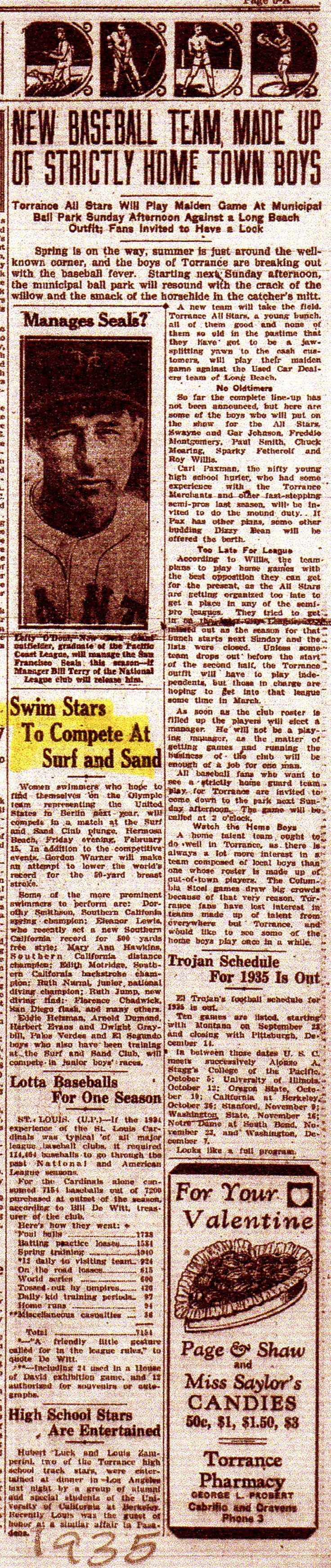 1935 article about surf and Sand club