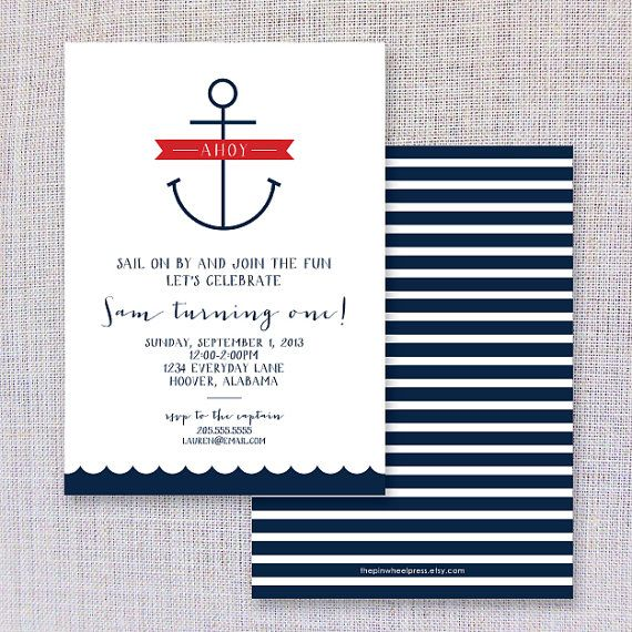 Nautical Birthday Invite by thepinwheelpress on Etsy, $15.00