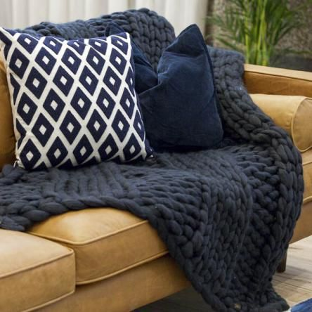 The Melbourne | Charcoal Chunky Knit Blanket
