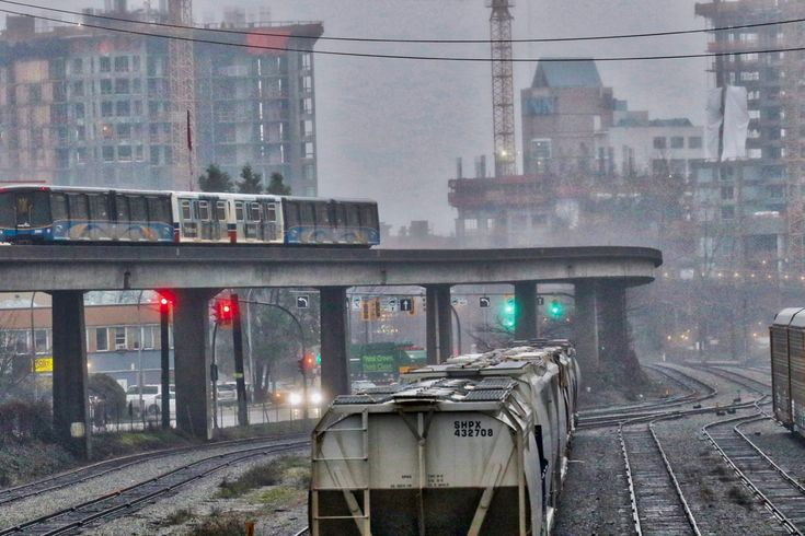 SkyTrain passes by Quayside Rail Yard in New Westminster, B.C. - December 29, 2017 Click image to enlarge.
