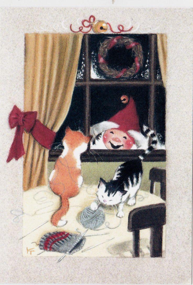 RARE Kaarina Toivanen Christmas cats knitting dwarf unposted modern postcard | eBay
