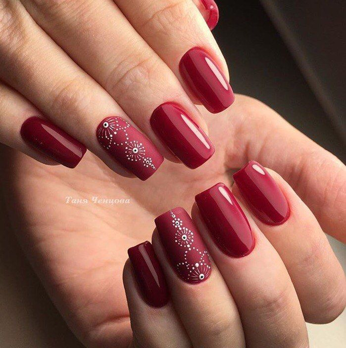 Autumn gel polish for nails, Autumn nails, Beautiful maroon nails, Burgundy nails ideas, Dark and red gel polish, Dark red nails, Fashion autumn nails, Festive maroon nails