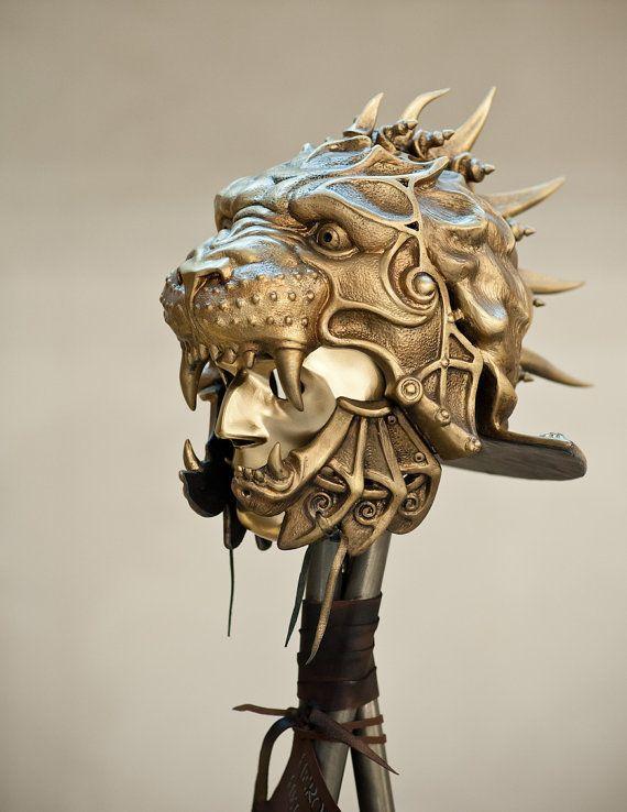 Maske Helm, Gladiator Helm, Predator Helm, Löwe Skulptur, alten Helm, militärische Rüstung, Metallskulptur, Qualität des Kunstmuseums, Maske Krieger