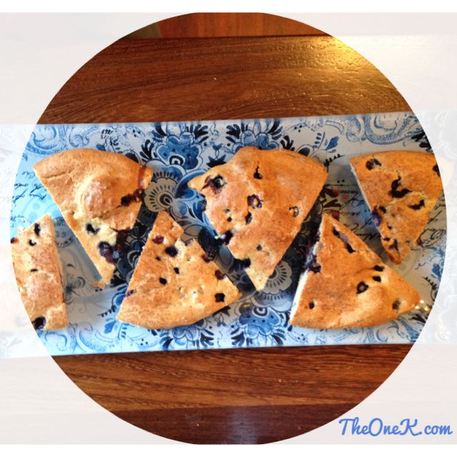 Homemade Gluten-free Blueberry scones. Perfect for a tea time treat! | Recipe on TheOneK.com