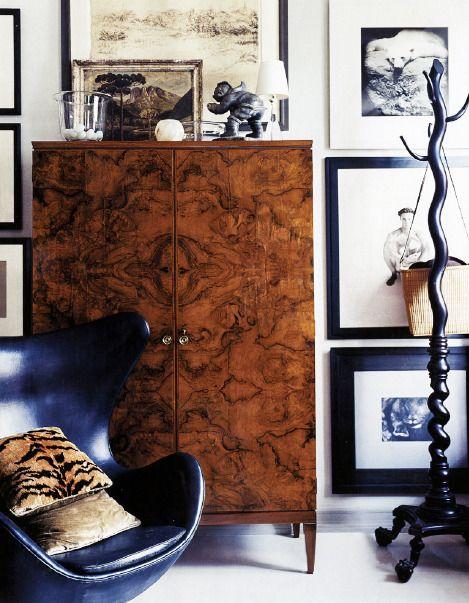 A Thomas O´Brien interior: Arne Jacobsen Egg lounge chair, 1958. / A Thoughtful Eye