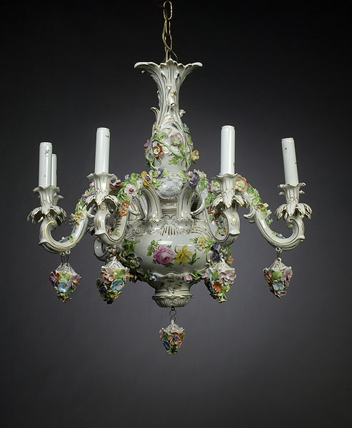 Dresden Style Porcelain Chandelier Cowan S Auctions