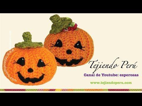 Calabazas de halloween tejidas a crochet - YouTube