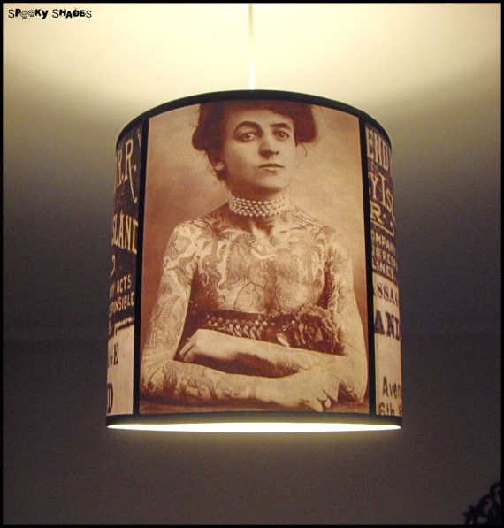 Hey, I found this really awesome Etsy listing at http://www.etsy.com/listing/151703494/sale-vintage-tattoos-pendant-lamp-shade