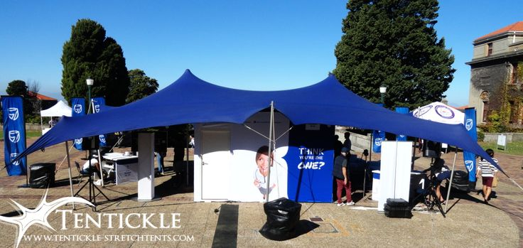 Blue bedouin stretch tent setup at University of Cape Town