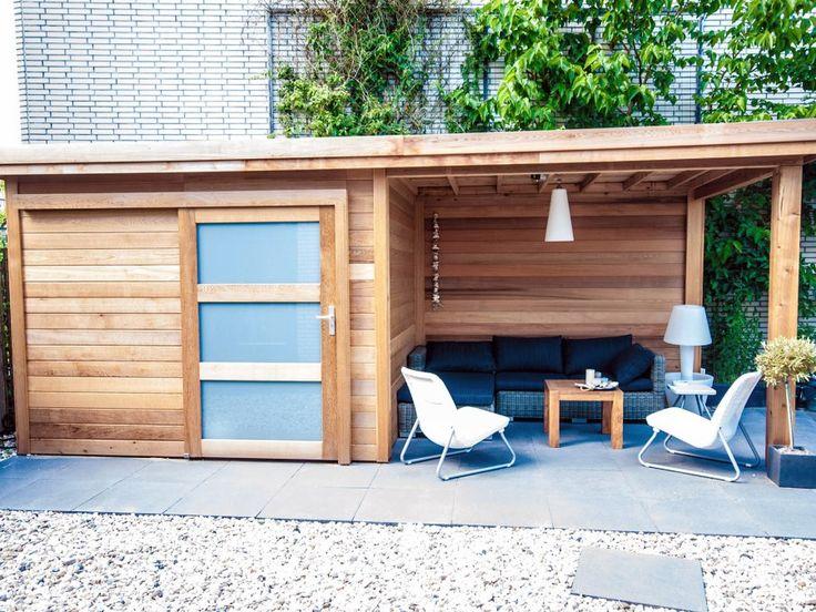 tuinhuis platdak met luifel afbeelding 1