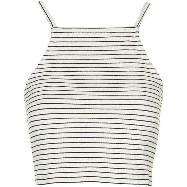 TOPSHOP TALL Striped Square Neck Crop Top found on Polyvore featuring polyvore, fashion, clothing, tops, shirts, crop tops, tank tops, cream, strappy crop top and white striped shirt