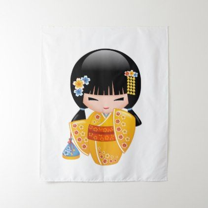 Summer Kokeshi Doll - Yellow Kimono Geisha Girl Tapestry - girl gifts special unique diy gift idea