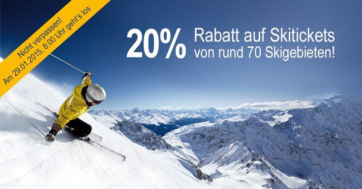 Ticketcorner präsentiert den Super Ski Tag 2015! Profitiere am 29. Januar 2015 während 24 Stunden von 20% Rabatt auf alle Skitickets. Alle Informationen zur Aktion gibt es hier: http://ow.ly/HFXwx #Skiing #Ski #Winter #Wintersport #Aktion #Rabatt