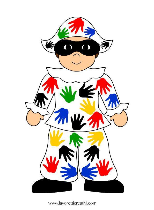Idea da tenere presente come cartellone per il Carnevale. Arlecchino le cui toppe colorate sono realizzare con le sagome delle mani dei bambini. LAVORETTI