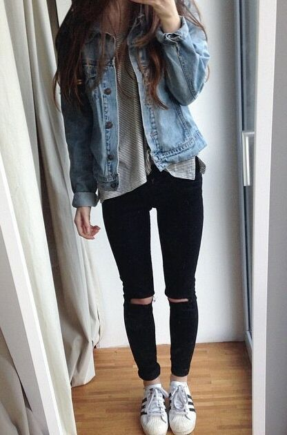 Looking for casual ripped jeans? Find more cute outfit idea to create your own street style with women's clothing at http://zefinka.com