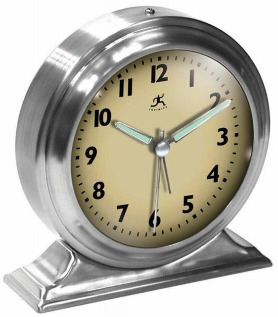 Brushed nickel alarm clock with glow in the dark hands Product  Alarm clockConstruction Material  MetalColor  Cream and brushed nickelFeatures  Glow in the. 10  images about Clocks on Pinterest   Vintage clocks  For kids