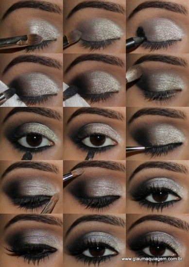 maquiagem festas final de ano: Eyes Lips Makeup, Eye Makeup Black Silver, Cat Eyes, Style, Hair Makeup Nails Skincare, Cat Eye Tutorials, Silver Cat, Pretty Eye Makeup, Finals De