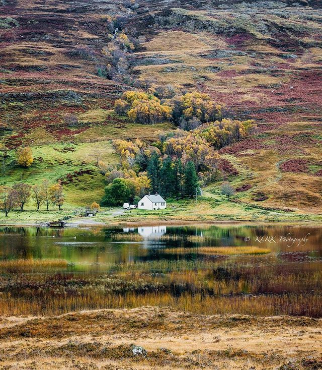 RURAL BLISS IN THE HIGHLANDS, Scotland. I have Scottish blood on my fathers side and for some extraordinary reason I have never visited this stunning part of the world. This small cottage nestling at the foot of a scraggy hill on the edge of a loch really appeals to me. I believe parts of Scotland are quite wild although this looks rather sedate. I love the autumn colours and the reflection in the water @kirkphotography on Facebook #scotland #loch #gardensofinstagram #naturalbeauty…