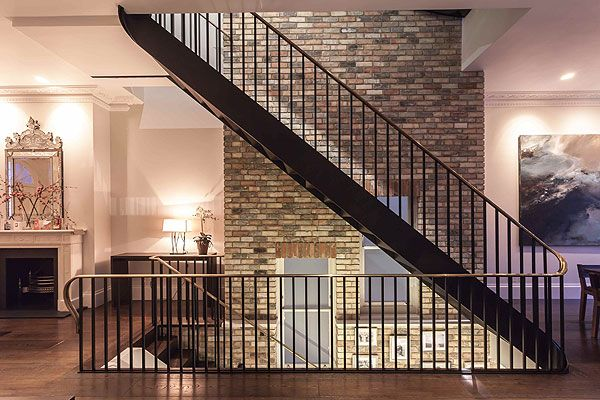 Exposed bricks and steel staircase