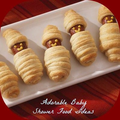 Simple Baby Shower Menu Ideas--Baby Wrap Crescents--     1 box of hot dogs     1 can(s) (8-ounce) refrigerated crescent rolls     Mustard or ketchup, if desired
