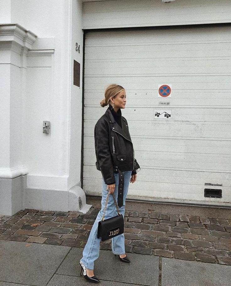 flare boyfriend jeans leather jacket pinned by juliabarefoot