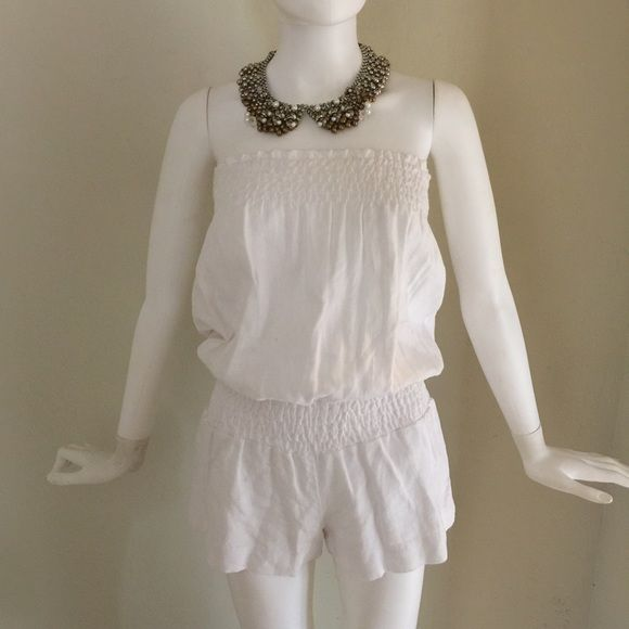 Young Fabulous & Broke white strapless romper NWT white romper.  Strapless and super cute for summer.  Purchased from Neiman's Last Call for $89.  It no longer fits  so hopefully you can get some use out of it!!  Size S 0065 Young Fabulous & Broke Dresses Mini