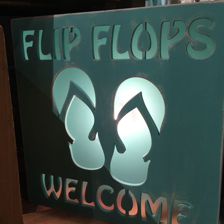 Flip Flops Welcome - Buy or rent a Beach House at BeachHouse.com today! #romantic #beachsigns #beachhouse #signs #housedecor #beachdecor #inspiration #ocean #underwater #welcomesign #welcome