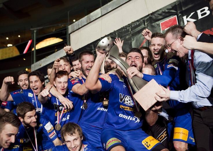 Pohár v rukou týmu Vítkovic - vítěze extraligy 2012/13