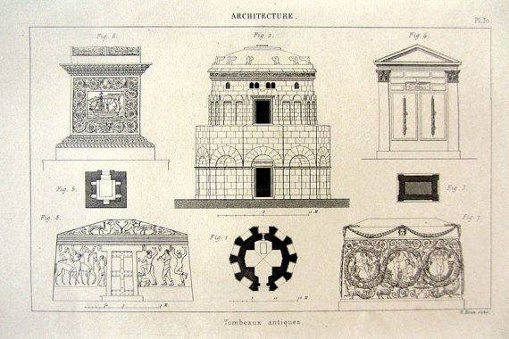 Curious antique classical tombs print 1852 by LyraNebulaPrints, $23.95