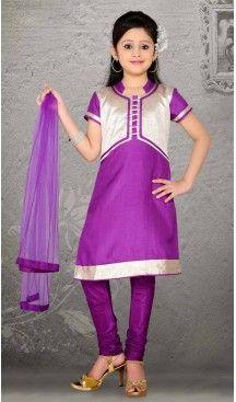 Girl's Violet Art Silk in Embroidered Incredible Readymade Salwar Kameez