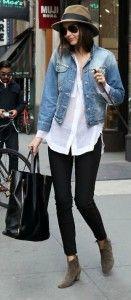 Denim jacket, white button-down,  black skinny pants, booties