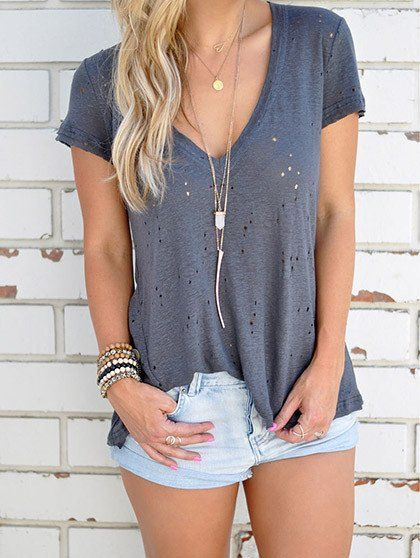 $23.99 Casual V neck Solid Color Short Sleeve Top