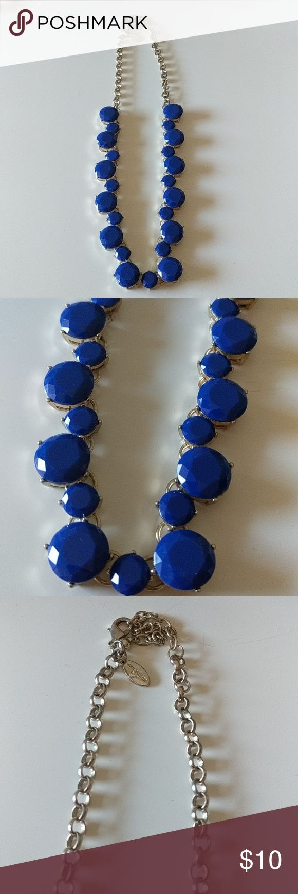 "Blue statement Necklace Never worn! Perfect condition necklace bauble blue jewels. 21"" from end to end. Ann Taylor Jewelry Necklaces"