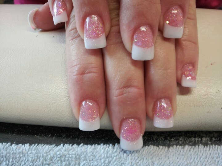 Tammy Taylor Nail Product Simple Pink White Acrylic With Glitter Base Sculpted No Tips Nails Pinterest And Designs