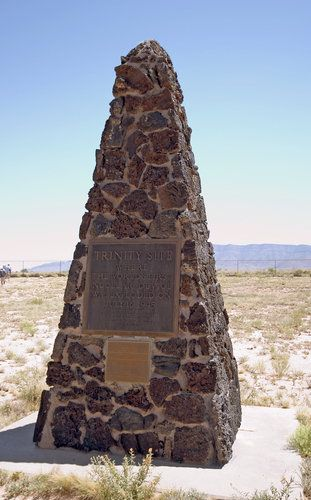 Marker for the first nuclear test site at Los Alamos.