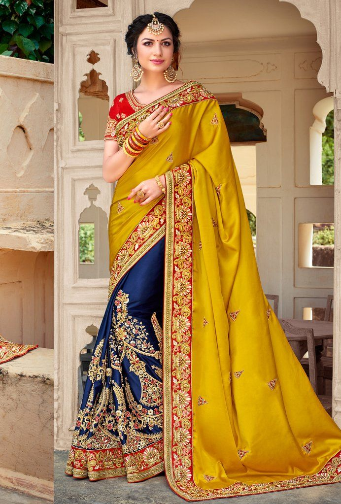 066cf375c Heavy Embroidered Blue and Mustard Saree with Red Blouse TOP  Raw Silk  BOTTOM  Satin Silk