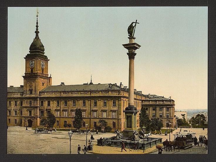Plac Zamkowy, Zamek Królewski i Kolumna Zygmunta, około 1900 r.