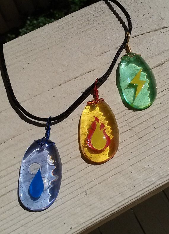 3 Pack Pokemon Evolution Stone Necklaces by Resinators on Etsy